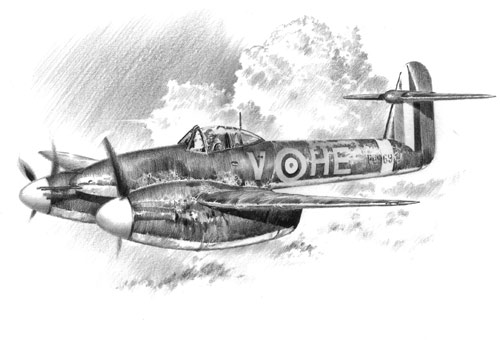 The Westland Whirlwind - Pencil Sketch print